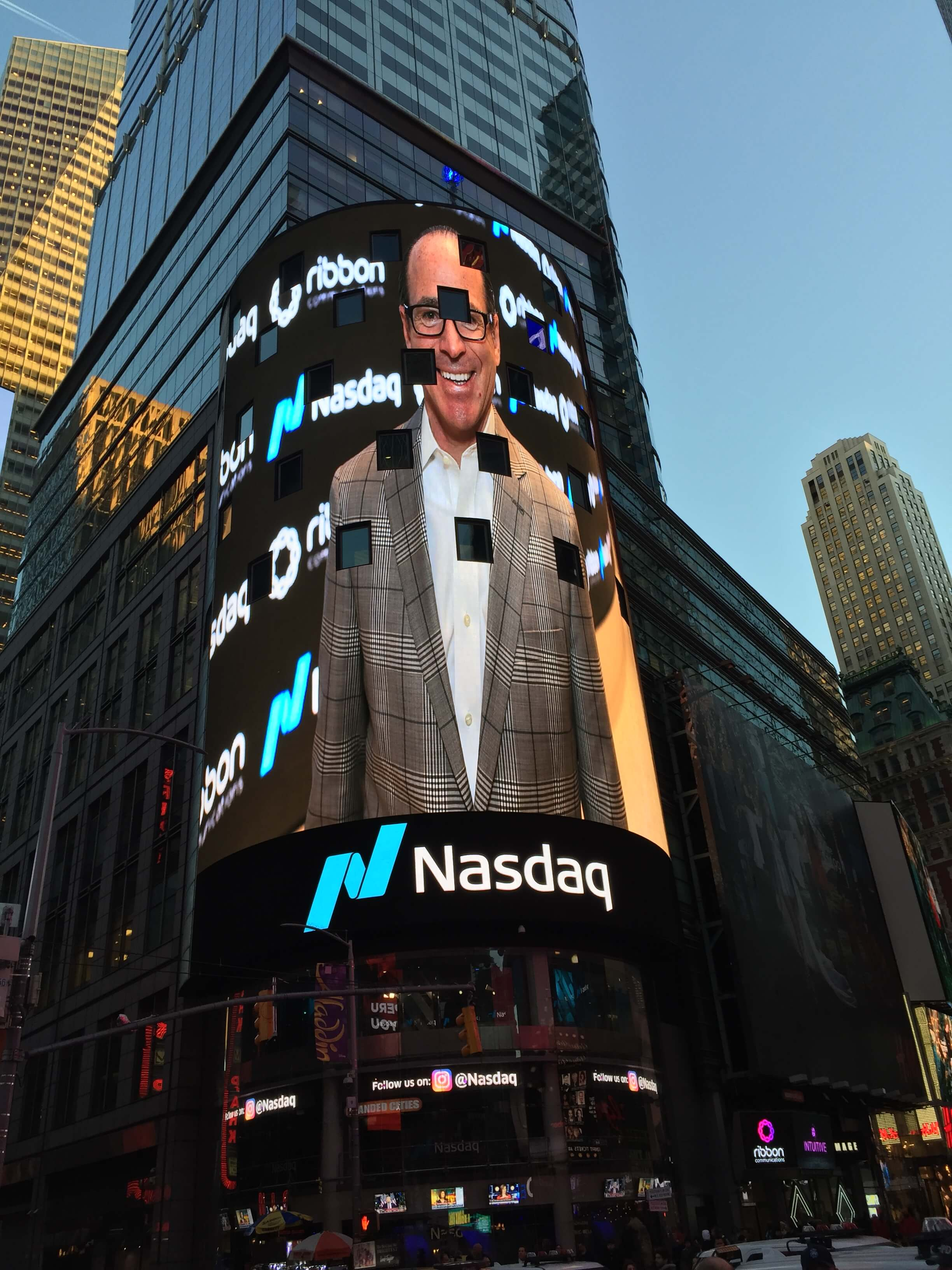 David Walsh, Bronxville NY native in Times Square on the Nasdaq